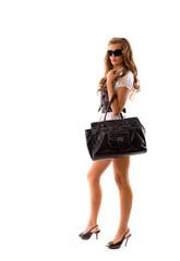Fashion model with big bag.