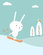 Кролик лыжах
