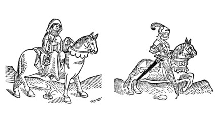 The Prioress and the Knight from The Canterbury Tales of 1485