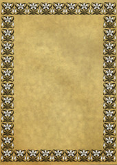 Old turned yellow paper with Vintage framewor