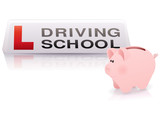 Driving school and moneybox poster