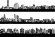Three Black and white panorama cities - illustration