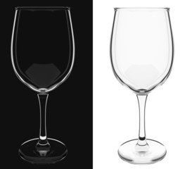 An isolated empty wine glass on black and white backgrounds