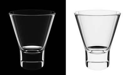 An isolated empty shorter glass on black and white backgrounds