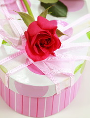 Present box and rose