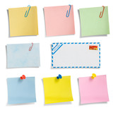 Stationery collection 02, note papers. Clipping path. poster