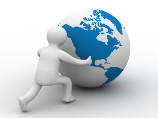 man rolls the globe on a white background. Isolated 3D image.