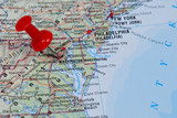 red pin pointing on Washington on USA map in atlas - 10930573