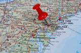 Red pin pointing on Philadelphia on USA map in atlas poster