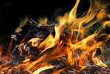 Detail fire blaze on neutral background poster