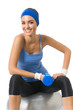 Young happy woman doing fitness exercise, isolated