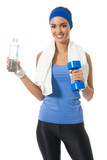 Woman in sportswear with water and dumbbell, isolated poster