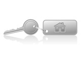 house key with house key ring - vector