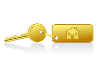 gold house key with house key ring - vector