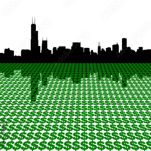 Chicago Skyline with dollars