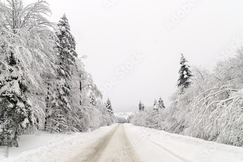 Traffic road in snow