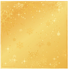Square golden snowflake grunge background