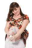 beautiful pregnant girl with iron on abdomen poster