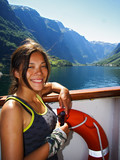 girl on cruise ship on fjord, Sognefjorden poster