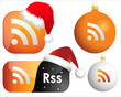 RSS web icons with christmas and new year decoration