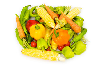 Various vegetables isolated on the white background