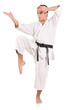 Karate man isolated against white background
