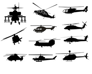 High detail helicopter silhouettes