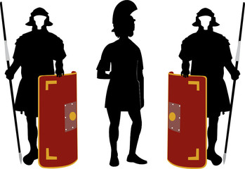 Silhouettes of Roman soldiers