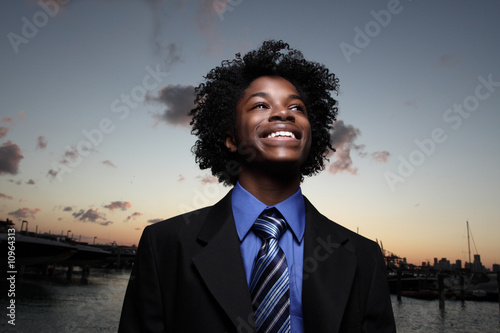 Businessman on a beautiful sunset