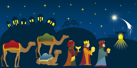 Three Kings coming to Bethlehem, three Magi