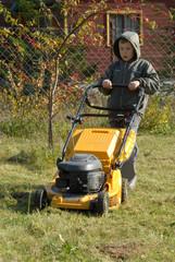 mowing grass