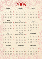European pink calendar, starting from Mondays