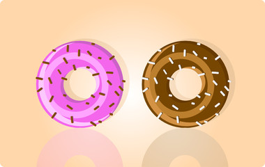 Vector illustration of two donuts