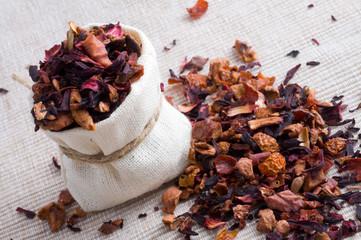 fruit tea in small sack