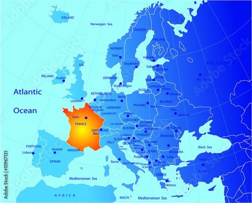 poster of Political map of Europe, France