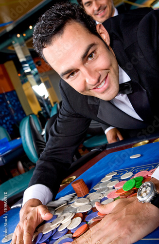 man gambling at the casino