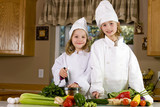 cute kids preparing a meal poster