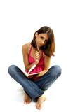 la jeune fille qui écrit dans son journal intime poster