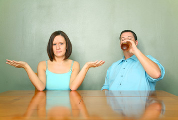 Husband With Drinking Problem With His Disappointed Wife