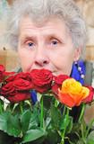 dreamy elderly woman poster