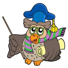 Owl teacher with parchment