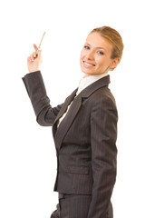 Young happy businesswoman or teacher at conference