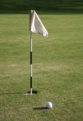 Golf-flag and golf-hole
