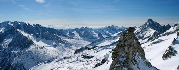 Panoramic view of Hintertux glacier in Austria