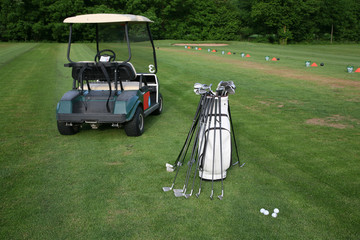 Golf-car and golf-clubs