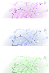 floral spring banners in pastel colours on white