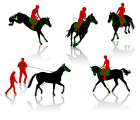 Silhouettes of equestrians on horses during competitions