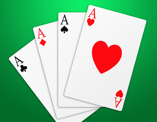 Illustration of the four aces signs of poker on green background