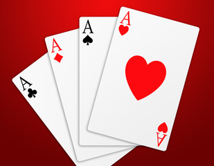 Illustration of the four aces signs of poker on red background