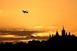 Planes departing Ottawa at sunset